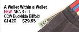 NEW! NRA 3-in-1 CCW Buckhide Billfold