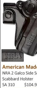 NRA 2 Galco Side Snap Scabbard Holster